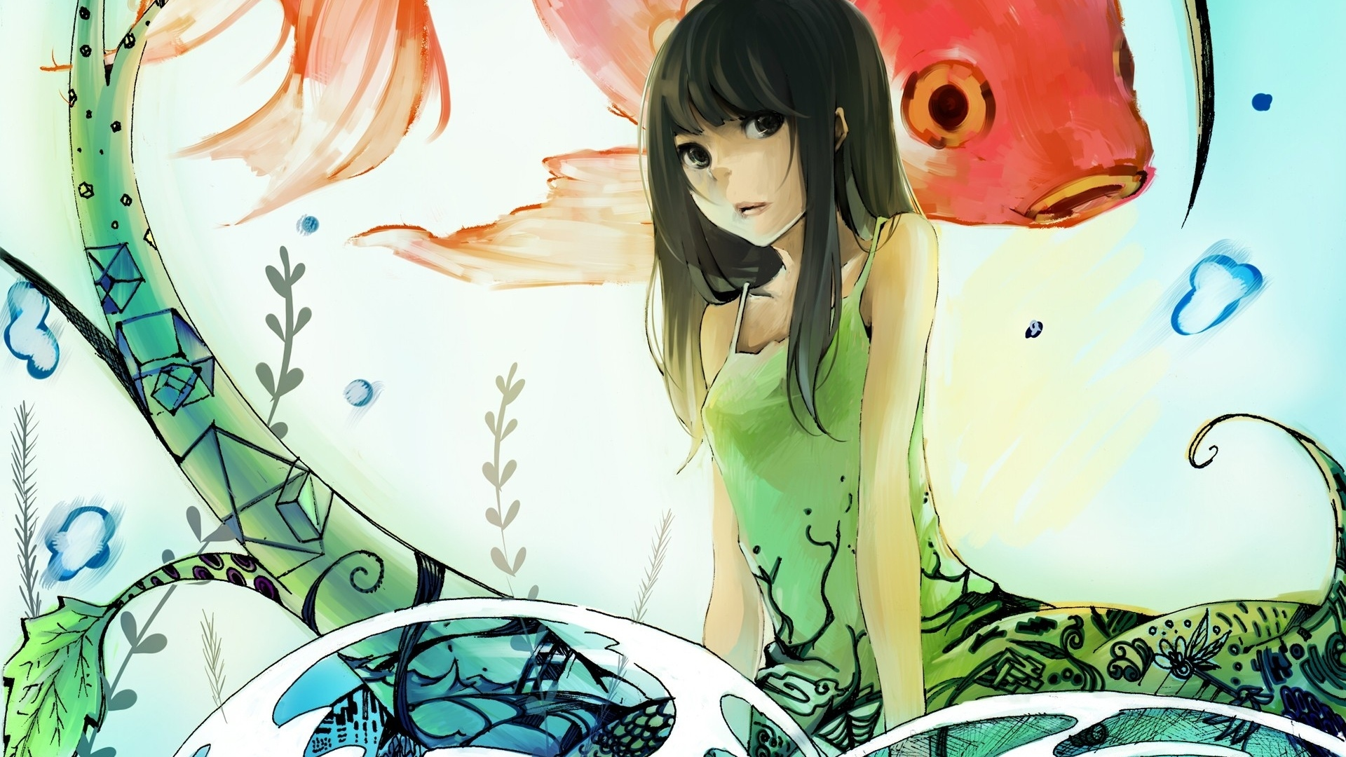 1920x1080 Cute Anime Girl & Fishes desktop PC and Mac