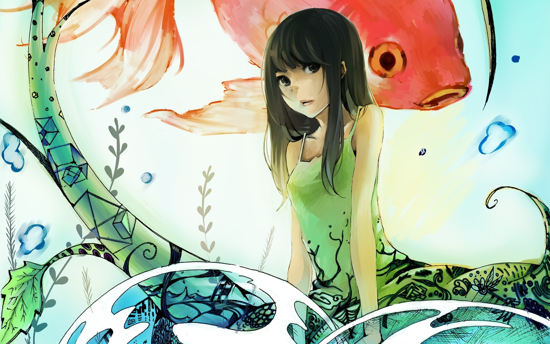 1920x1200 Cute Anime Girl & Fishes desktop PC and Mac