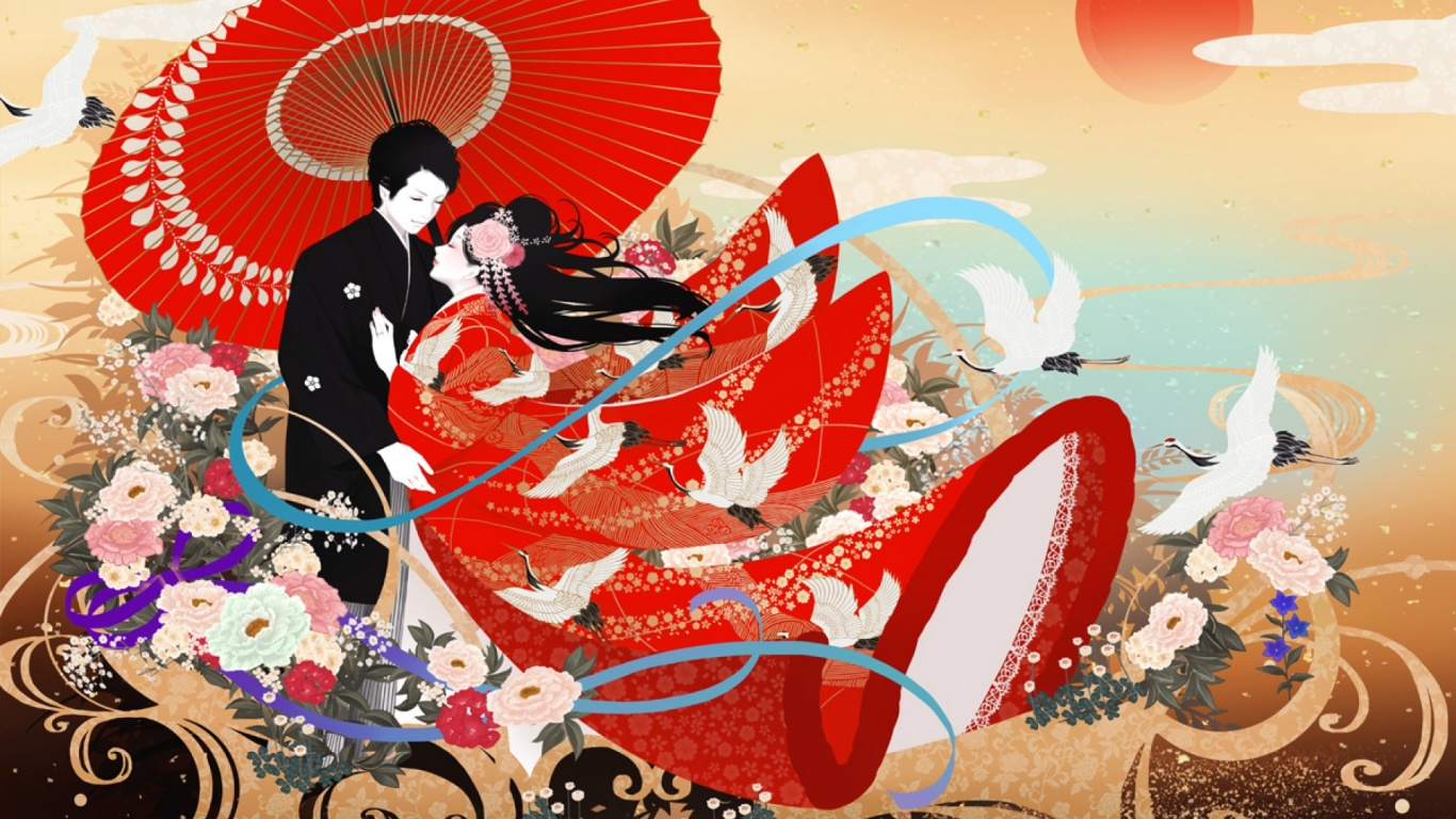 1366x768 Cute Asian Couple Red Umbrella