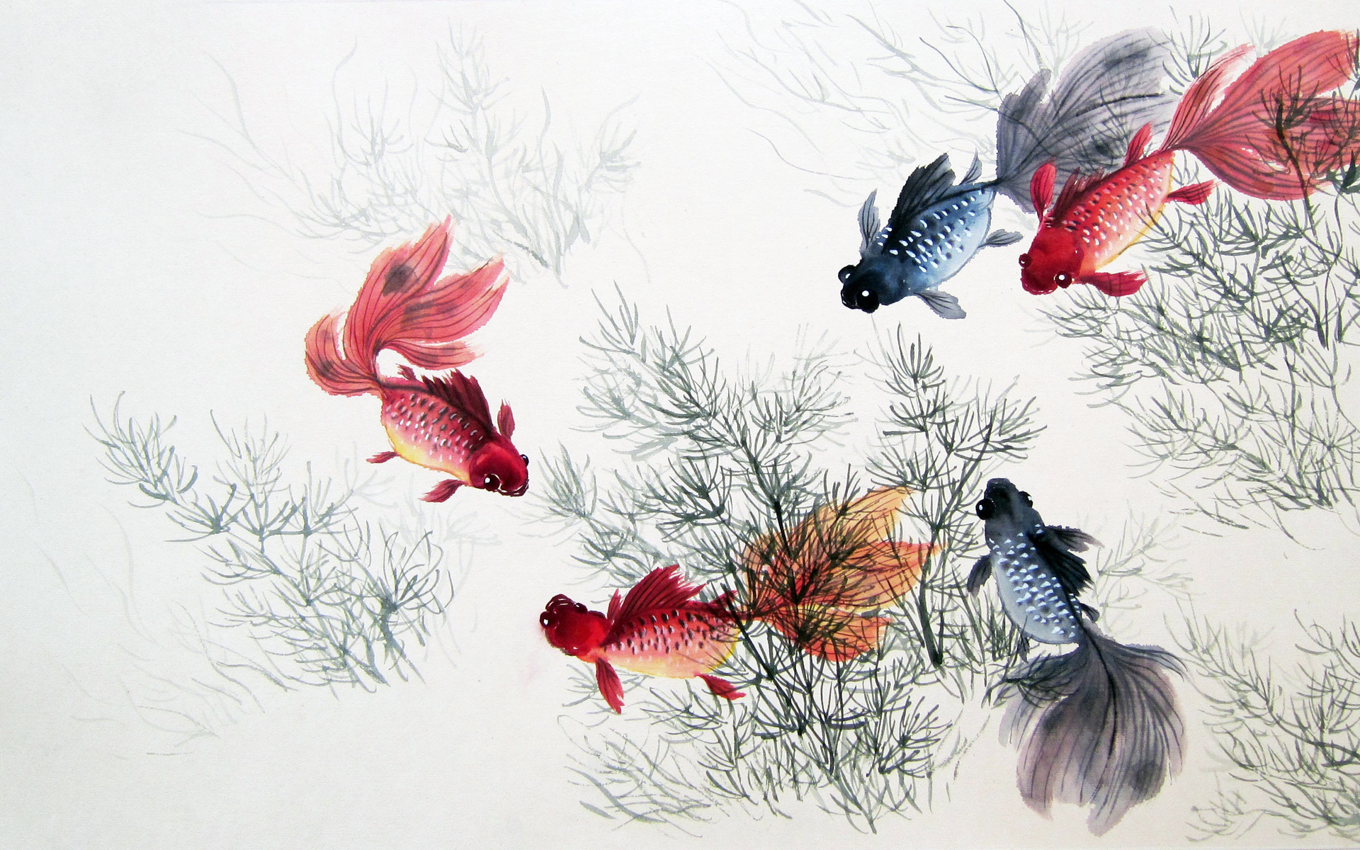 Cute chinese fishes plants wallpapers cute chinese for Chinese mural wallpaper