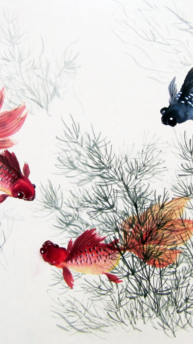 640x1136 Cute Chinese Fishes Plants Iphone 5 Wallpaper