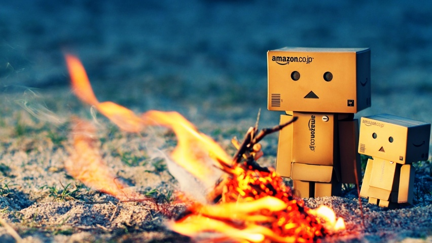 852x480 Danbo Warming Fire desktop PC and Mac wallpaper