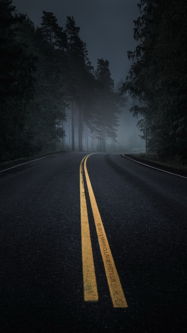 640x1136 Dark Road Forest Night Mood Iphone 5 Wallpaper