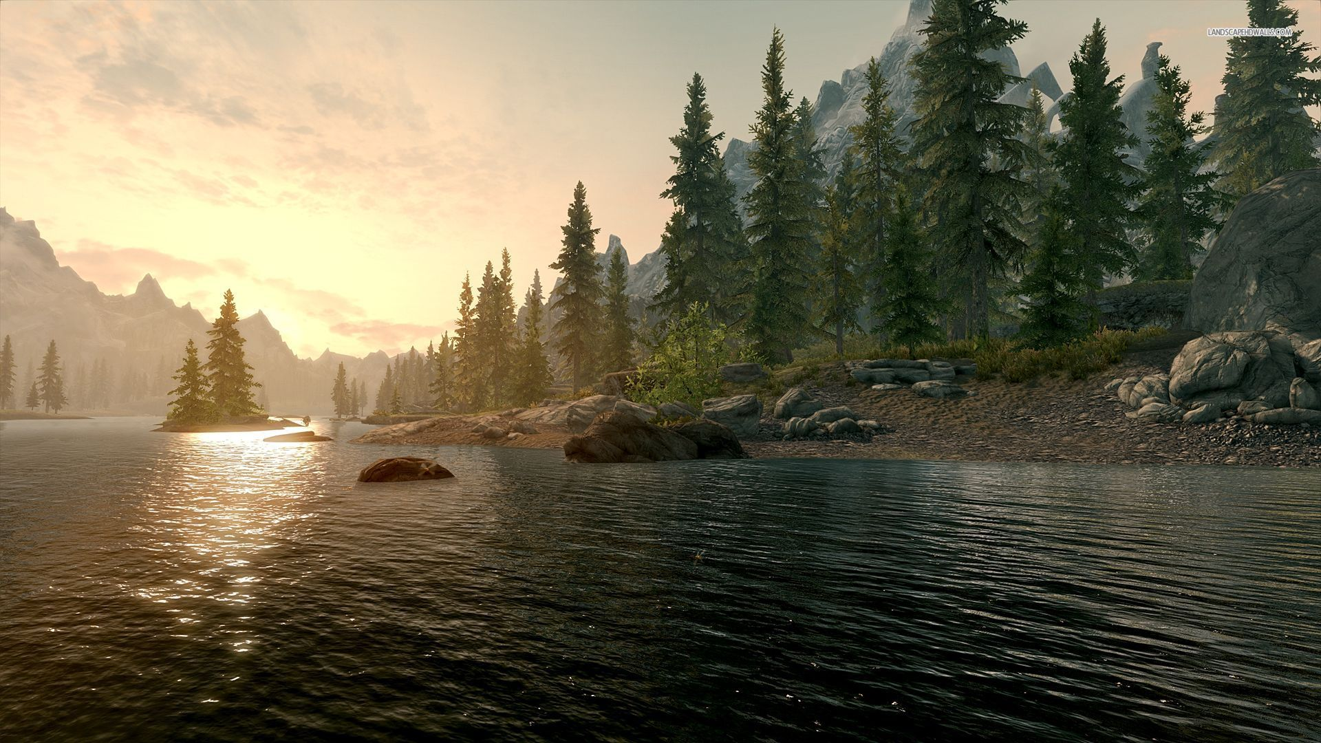 1920x1080 Deep River Shore Trees Sunset Desktop Pc And Mac Wallpaper