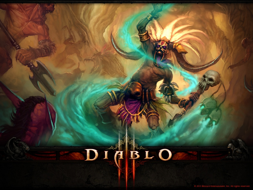 1024x768 Diablo 3 Witch-doctor desktop PC and Mac wallpaper