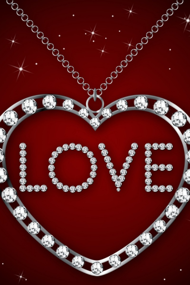 640x960 diamond heart necklace iphone 4 wallpaper