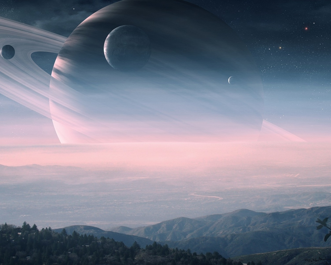 Wallpaper saturno wallpapers - 1280x1024 Digital Saturn Landscape