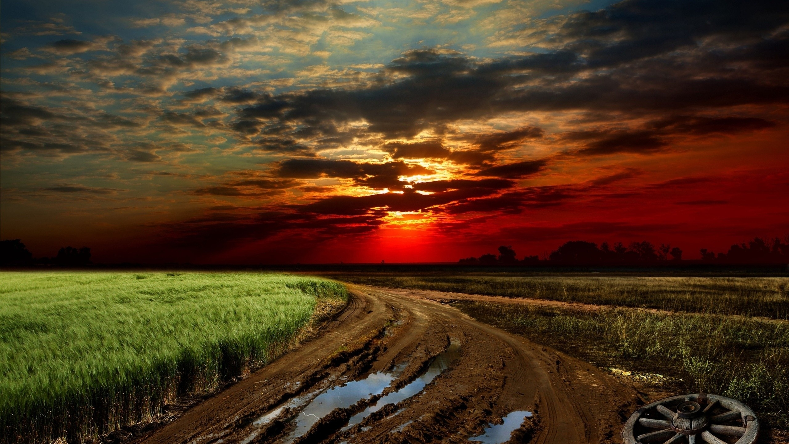 Road Sunset Wallpaper 2560x1440 Dirty Road F...