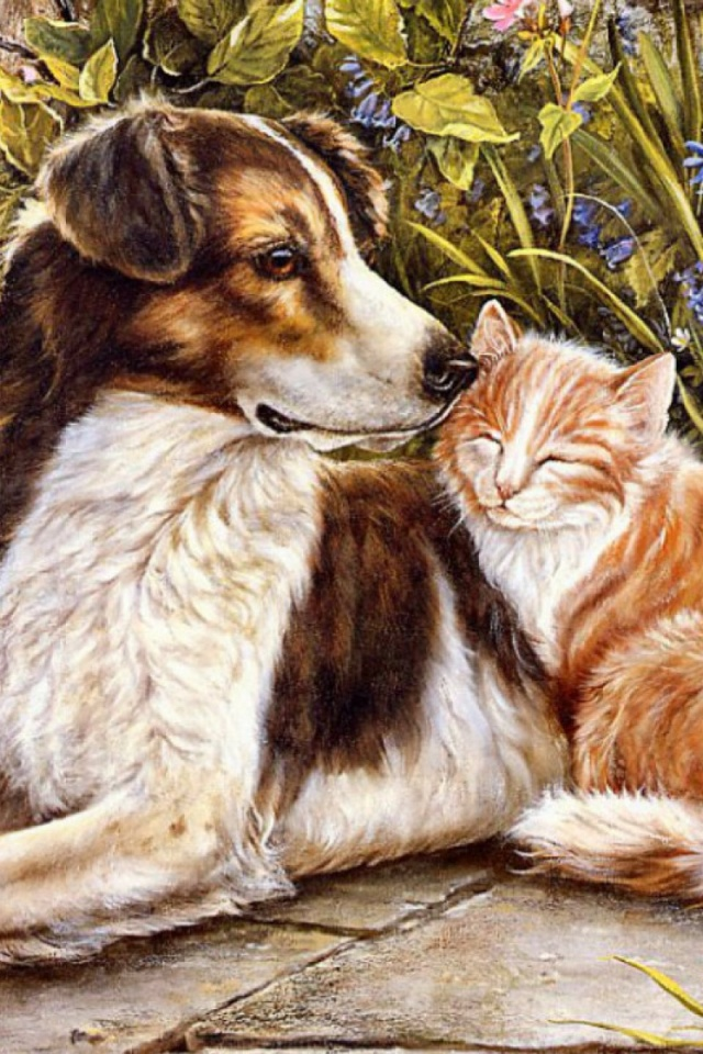 640x960 Dog Cat Sweet Friendship Iphone 4 Wallpaper