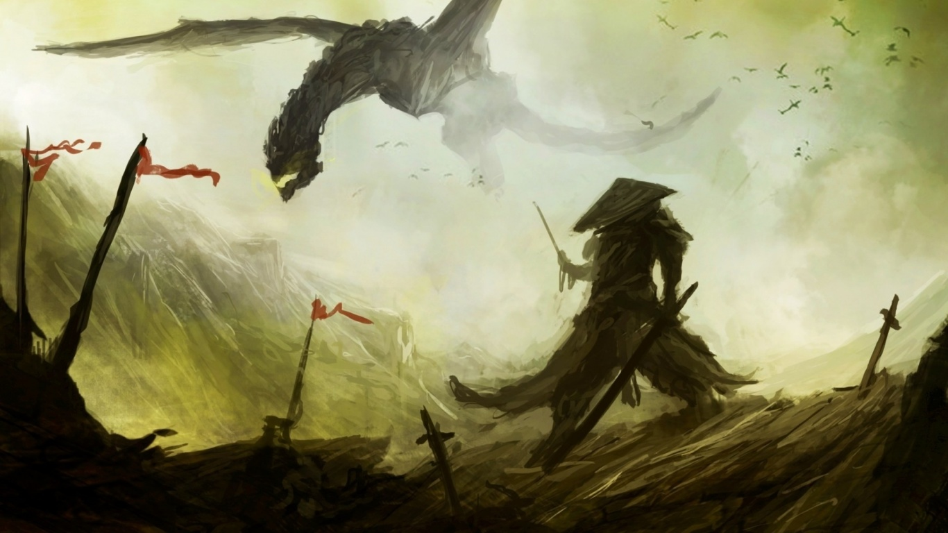 1366x768 Dragon And Samurai Fantasy Art Desktop PC Mac