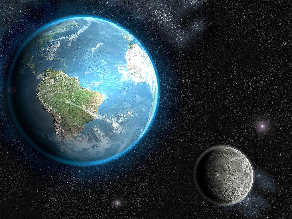 1024x768 Earth & Moon desktop PC and Mac wallpaper