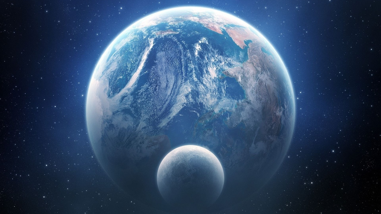 1280x720 earth and moon outer space view desktop pc and