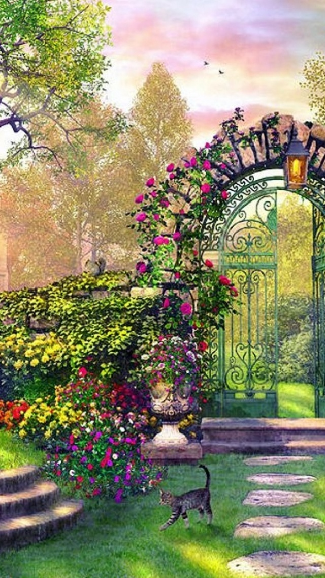 640x1136 enchanting garden desktop pc and mac wallpaper for Wallpaper home and garden