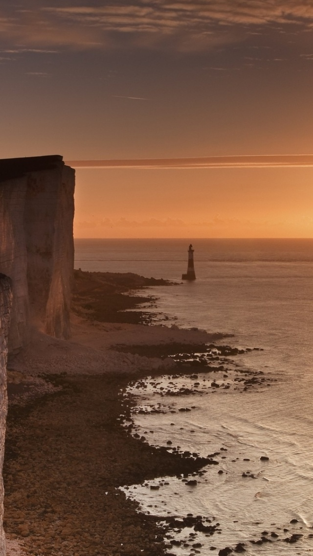 640x1136 England Sunrise Cliffs Ocean Iphone 5 Wallpaper