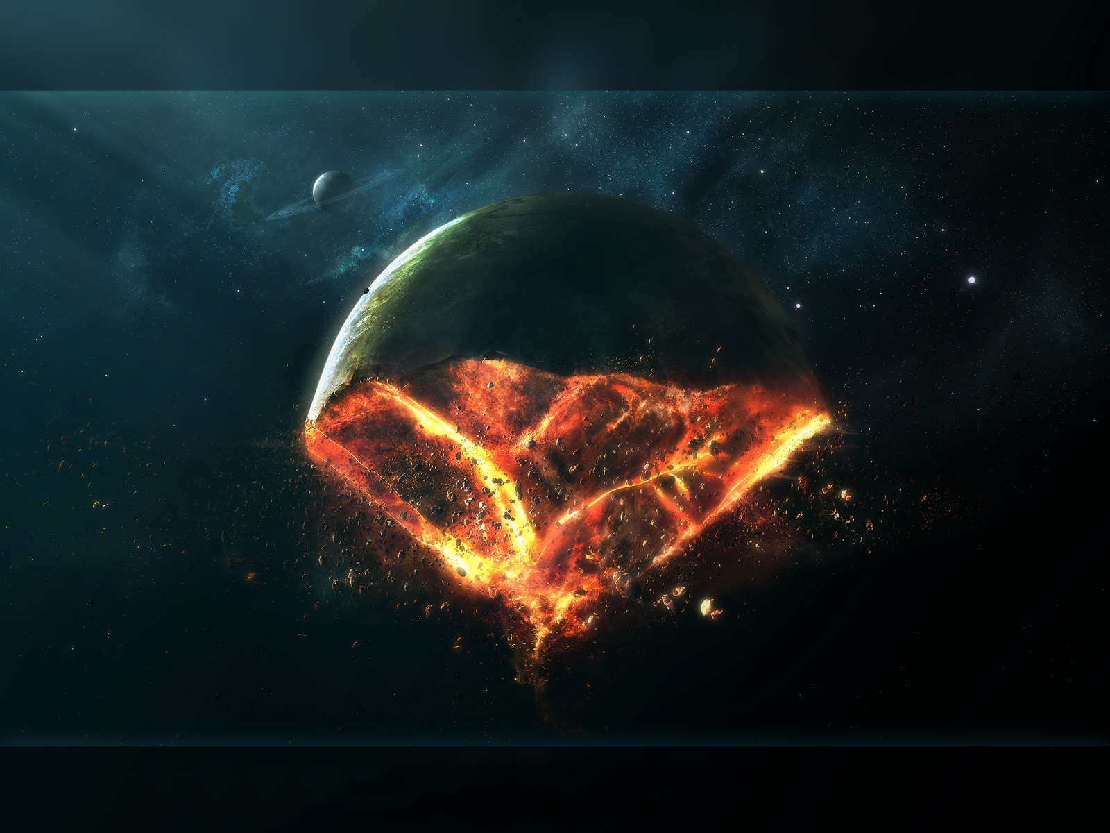 1600x1200 Exploded planet desktop PC and Mac wallpaper