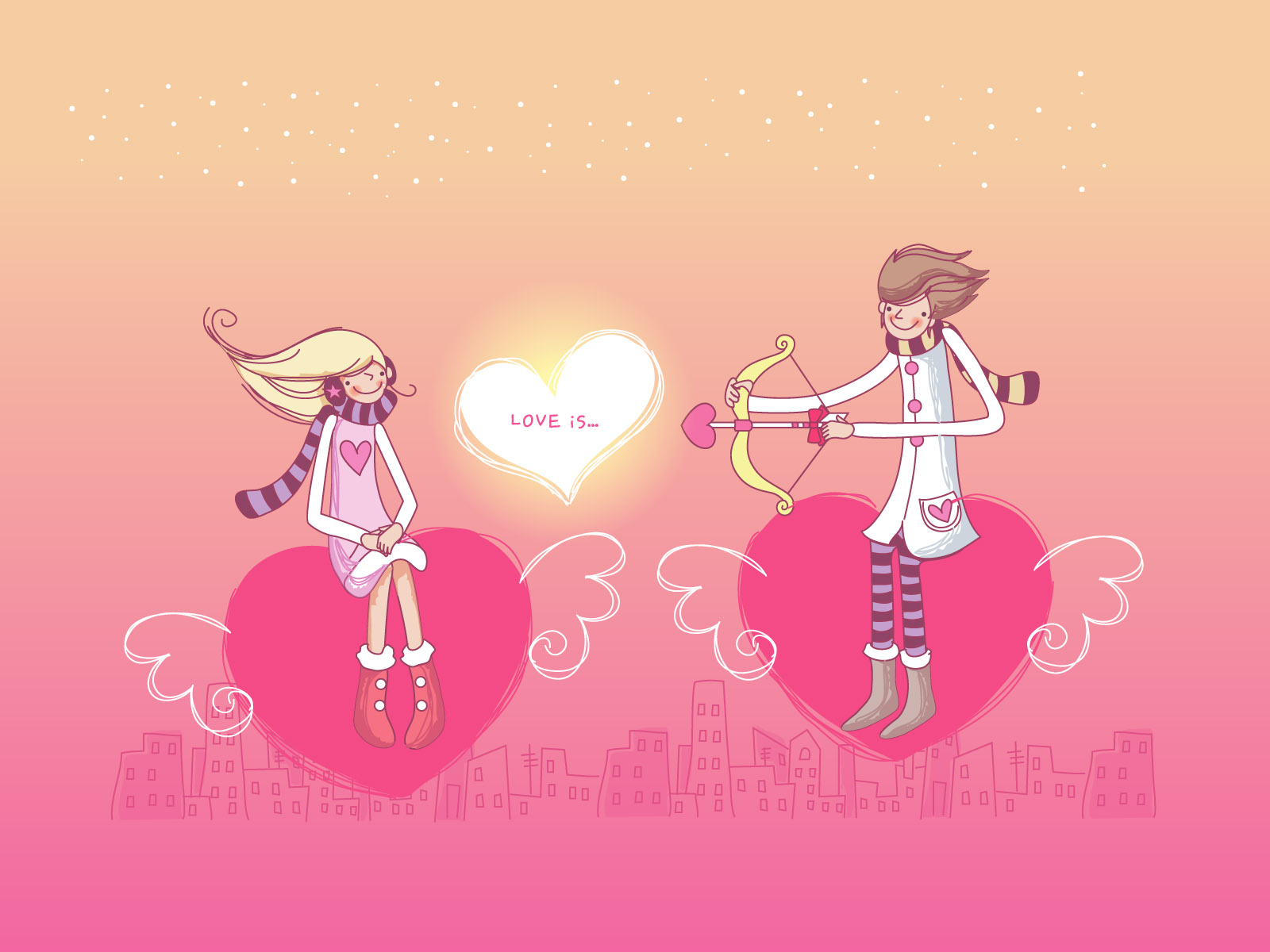 Wallpaper Fall In Love cartoon : 1600x1200 Falling in Love desktop Pc and Mac wallpaper