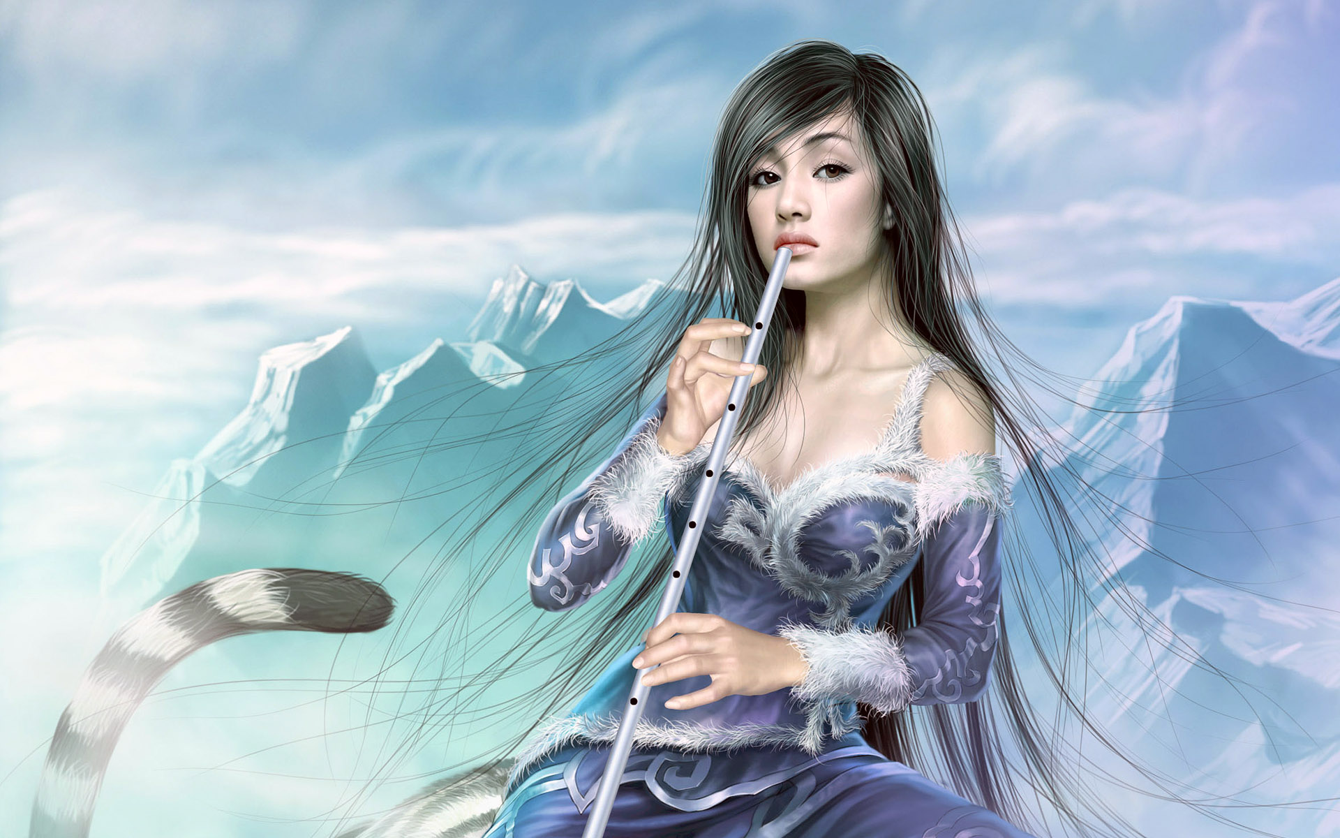 1920x1200 Fantasy girl - Flute 2 desktop PC and Mac wallpaper