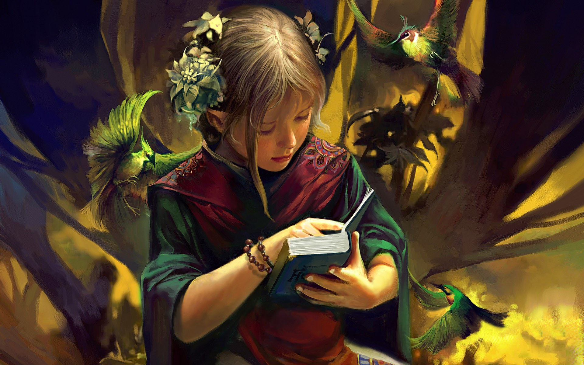 1920x1200 Fantasy girl - Reading desktop PC and Mac wallpaper