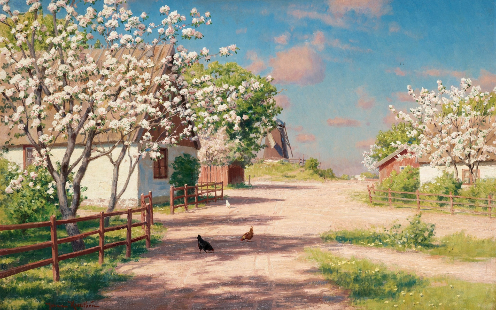 Farm Spring Trees Poultry Way Wallpapers Farm Spring