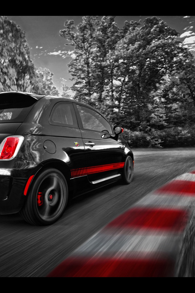 640x960 Fiat 500 Abarth Race Track Iphone 4 Wallpaper