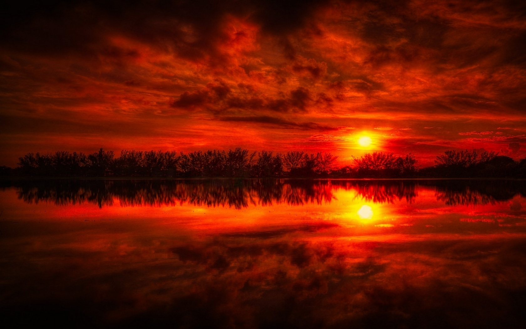 1680x1050 Fire Red Sunset Reflection Sea
