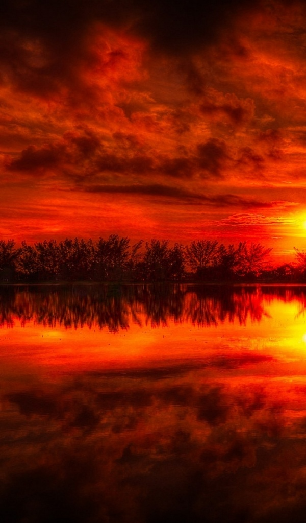 600x1024 Fire Red Sunset Reflection Sea