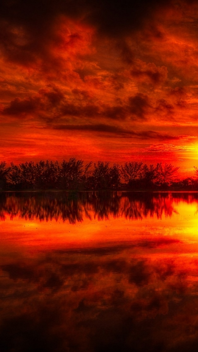 640x1136 Fire Red Sunset Reflection Sea