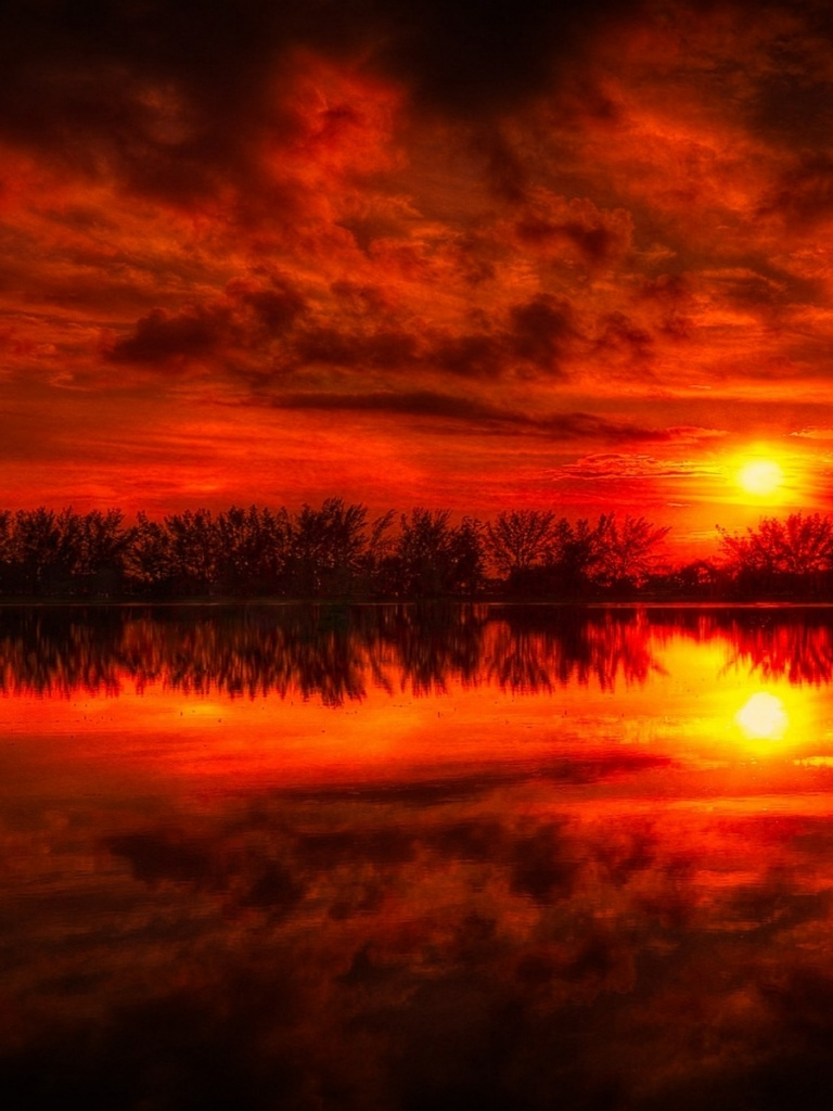 768x1024 Fire Red Sunset Reflection Sea