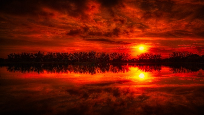 646x220 Fire Red Sunset Reflection Sea