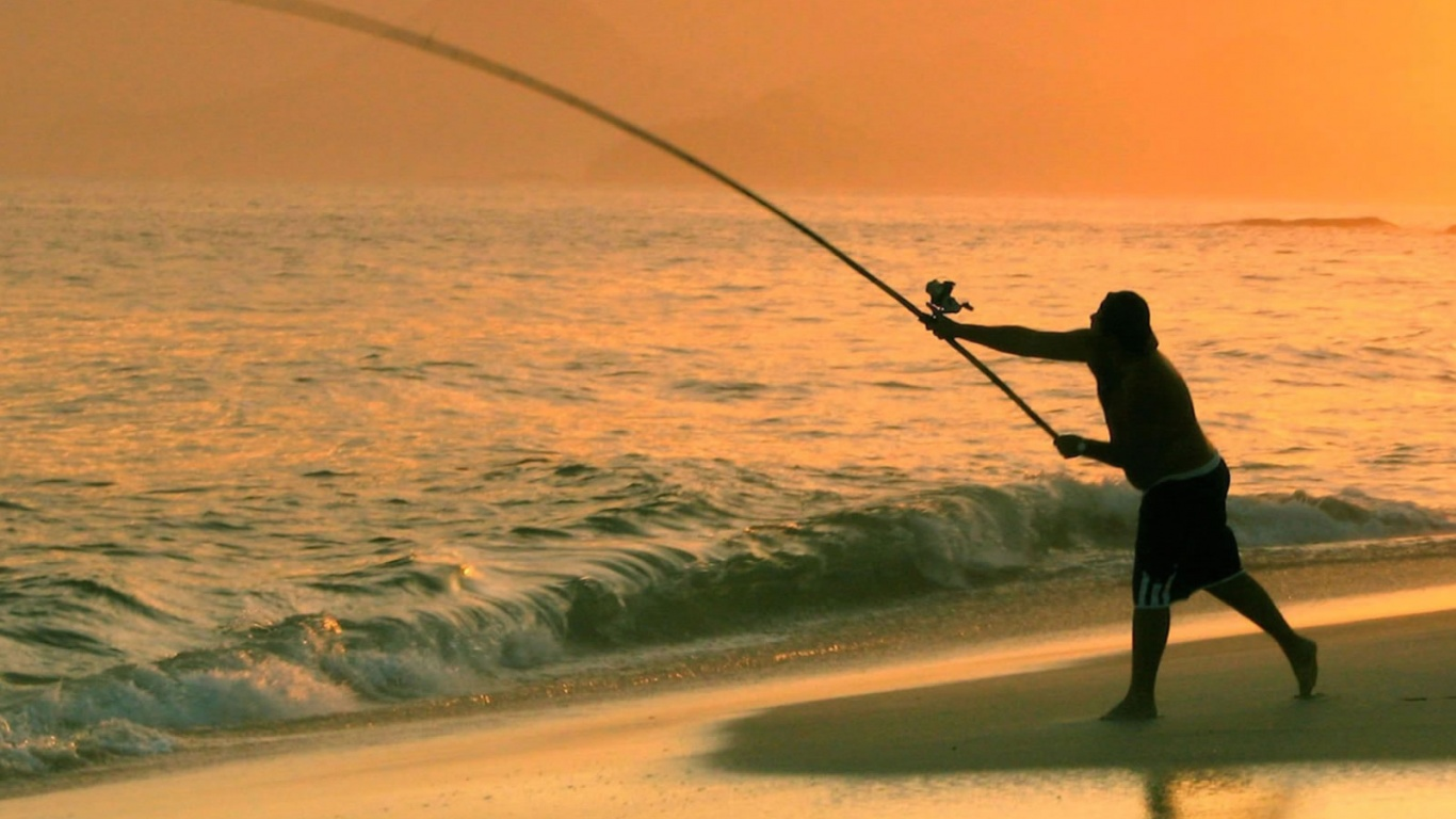 1366x768 fishing in the sea desktop pc and mac wallpaper for Fishing at the sea