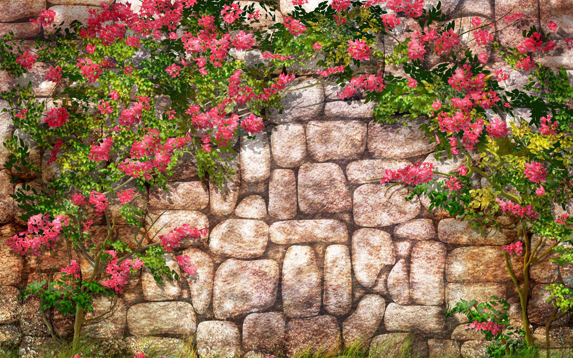 Flowers Wall desktop PC and Mac wallpaper