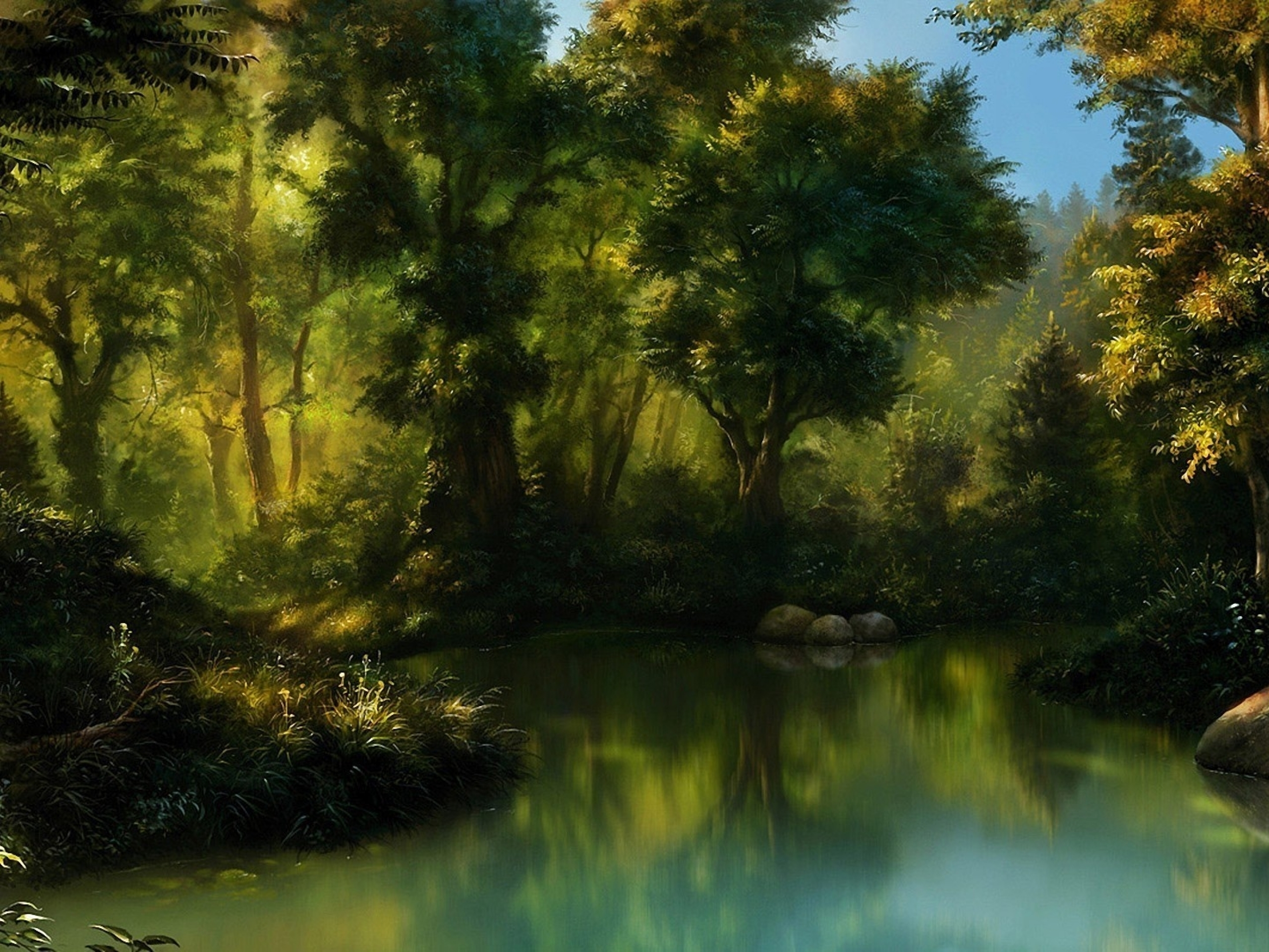 Village Painting Hd Forest & Sea Paint...