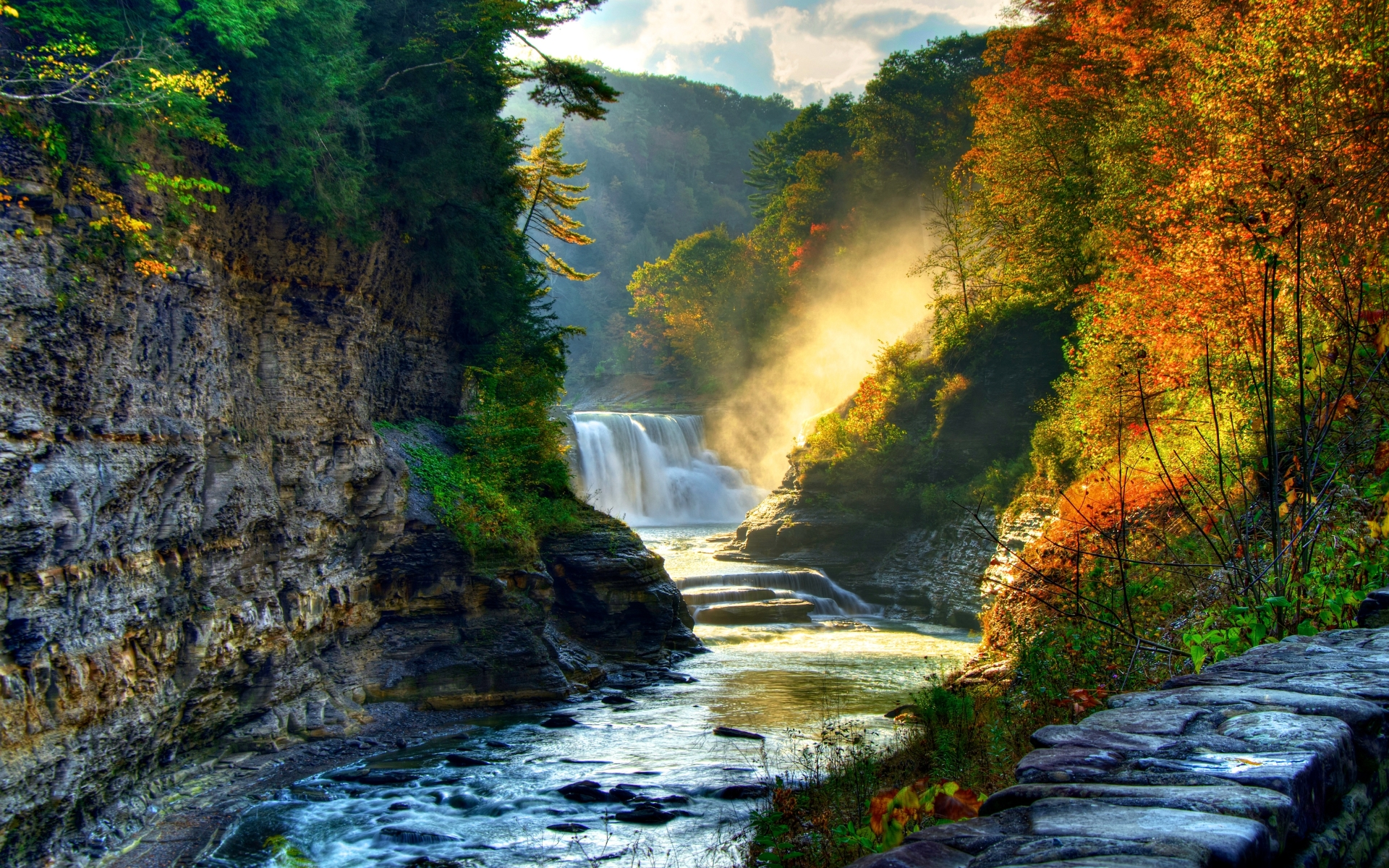 Lake Forest Sports Cars >> Forest Cliff Waterfall Sunny wallpapers   Forest Cliff Waterfall Sunny stock photos