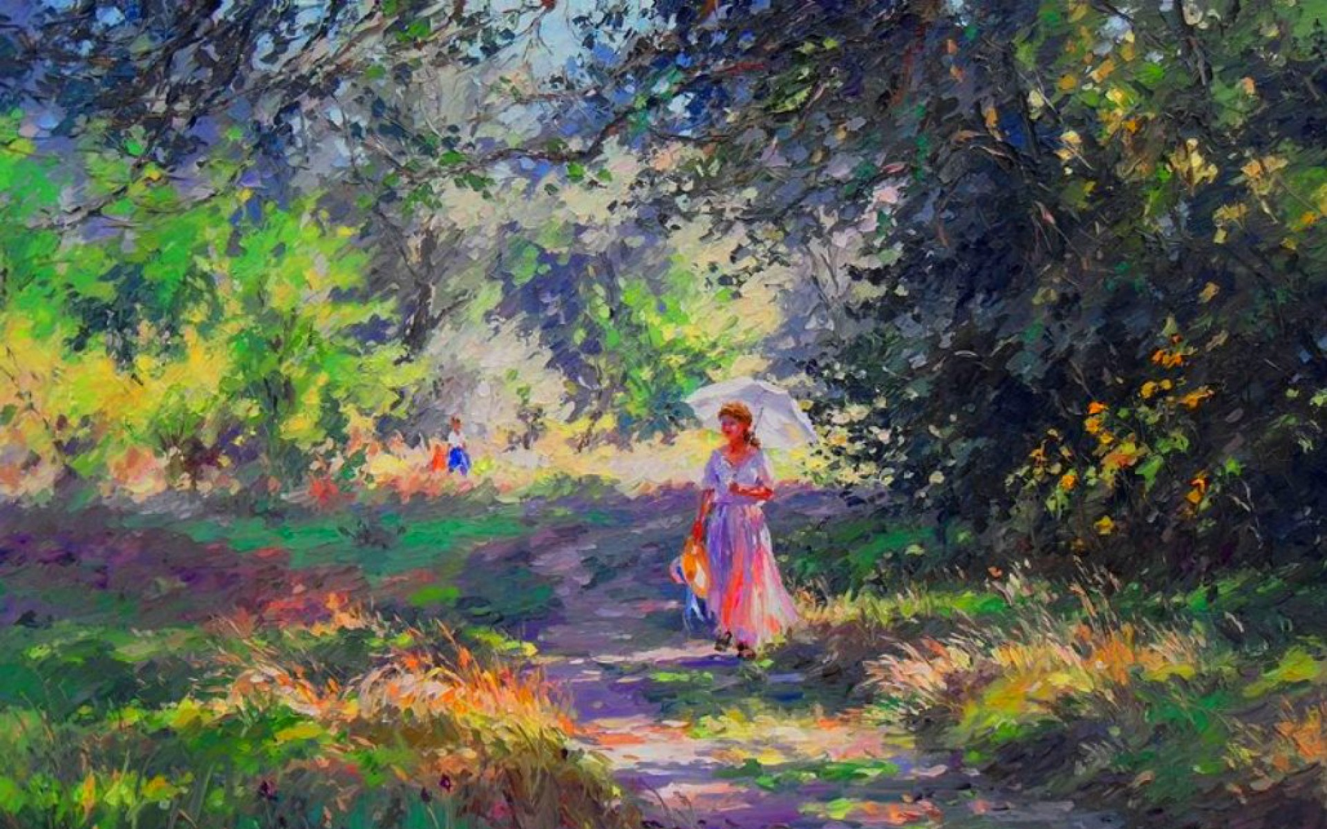 forest meadow woman path walk wallpapers