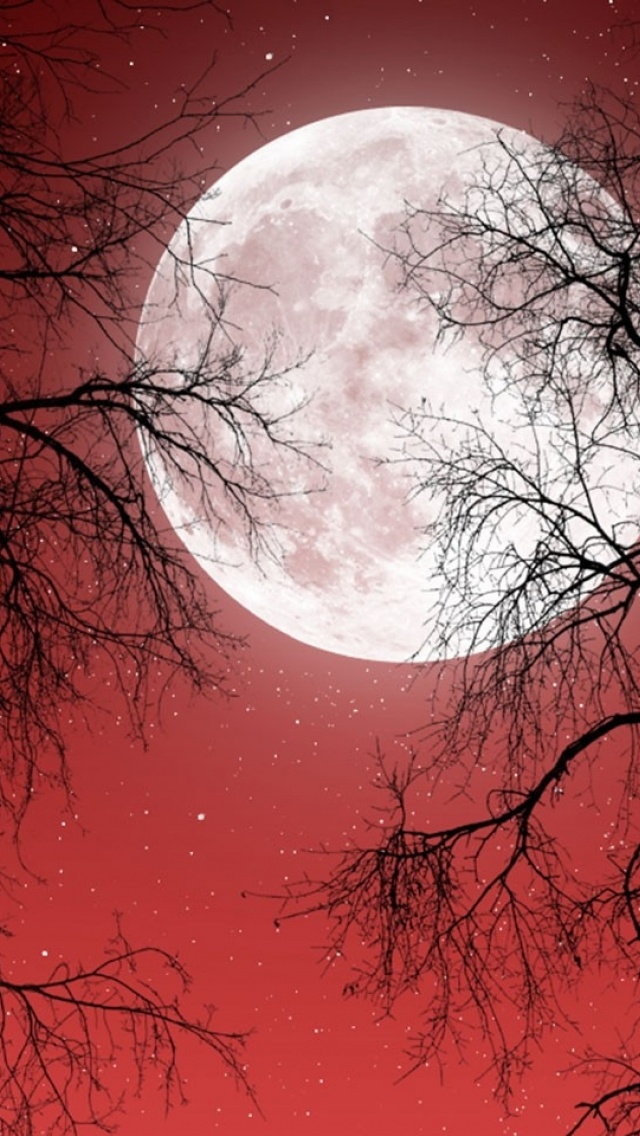 640x1136 Full Moon Red Sky Red Moon Iphone Wallpaper