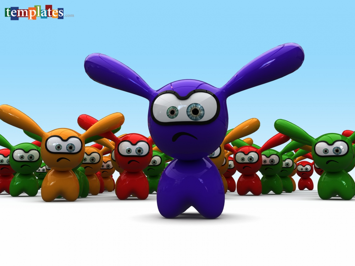 1152x864 Funny 3D Rabbits desktop PC and Mac wallpaper