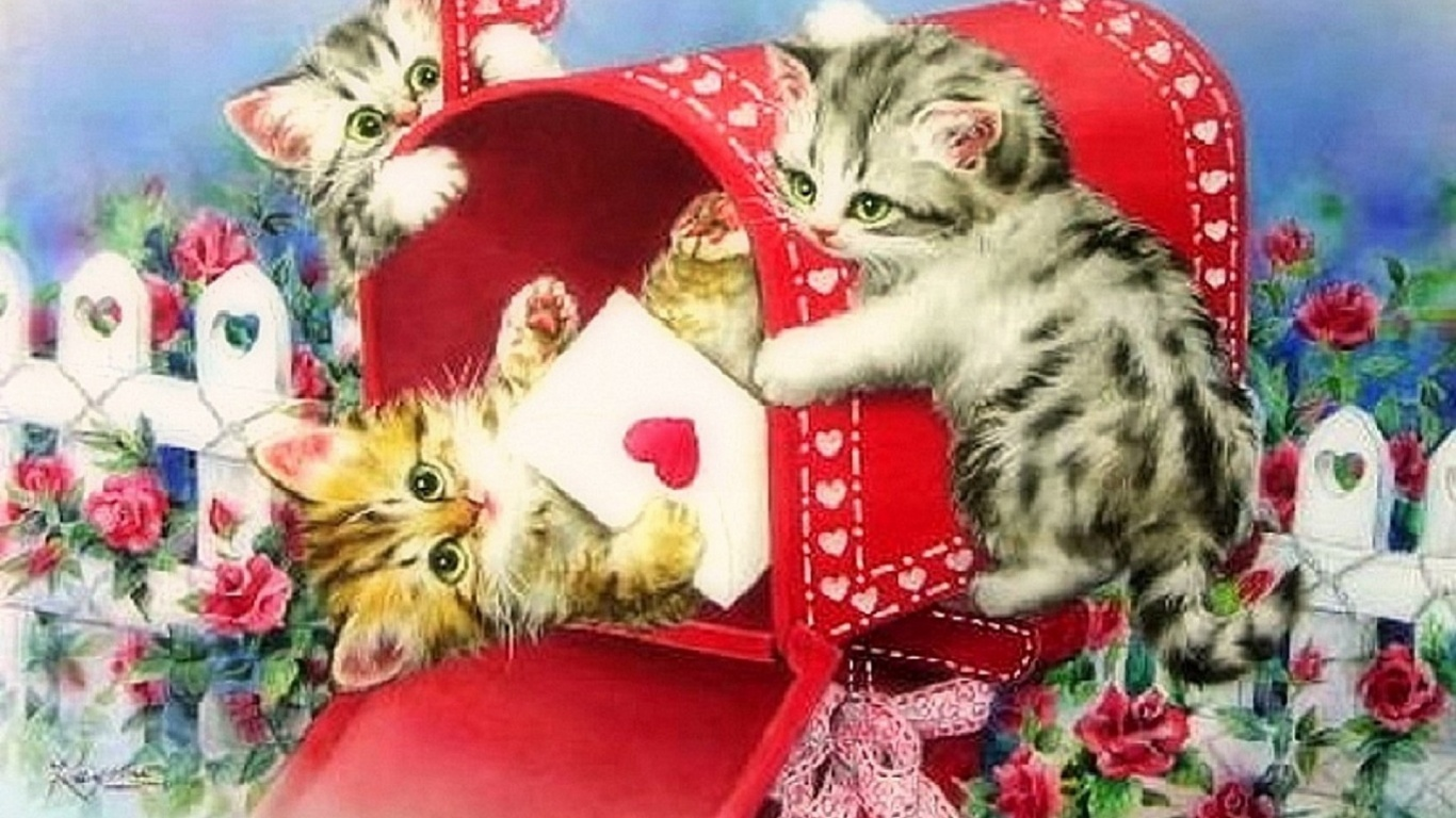 1366x768 Funny Kittys Letter Of Love Desktop PC And Mac Wallpaper