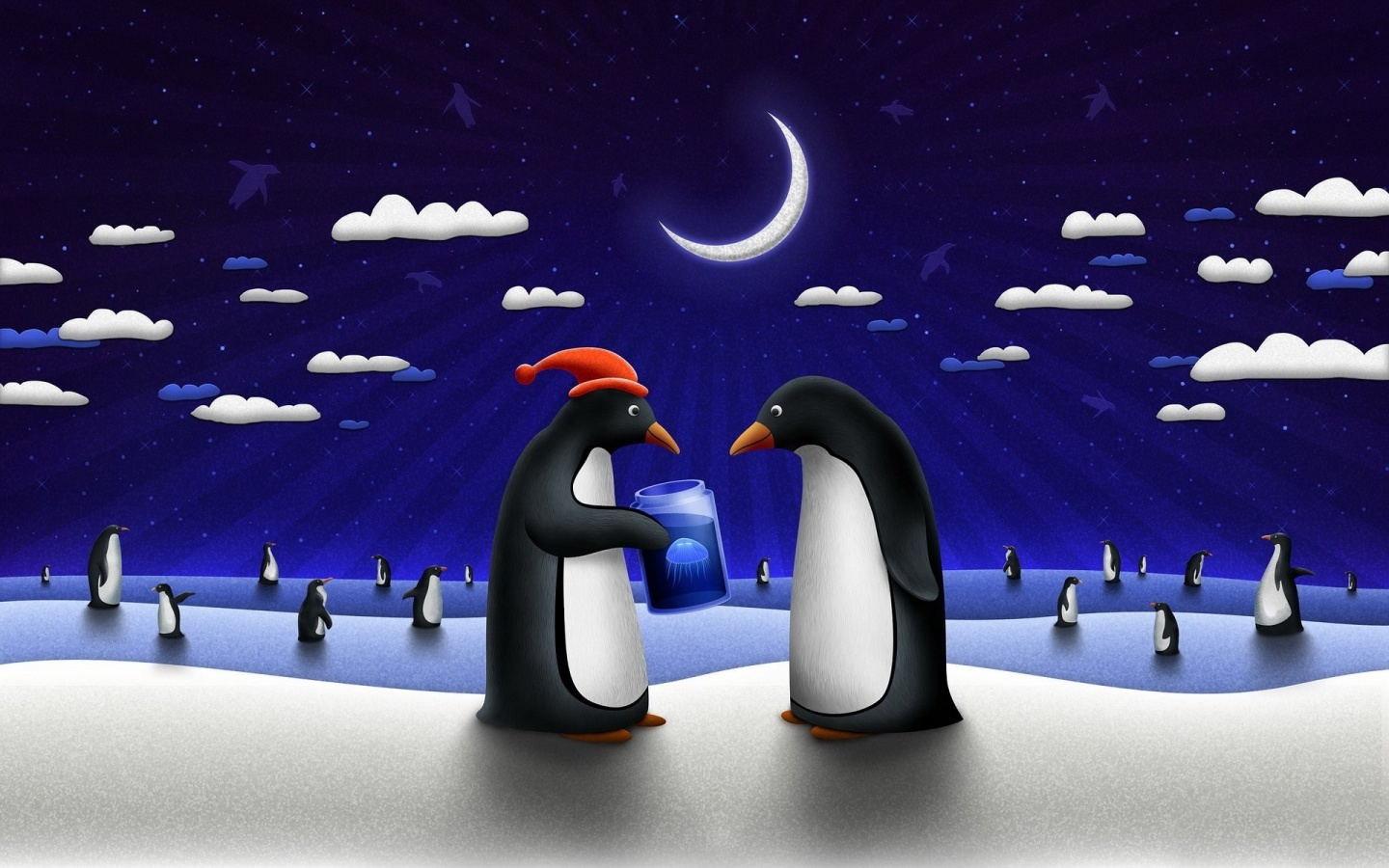 1440x900 Funny Penguins