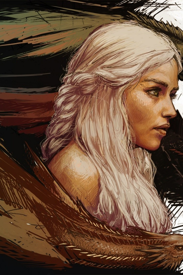 640x960 Game Of Thrones Daenerys Targaryen Artwork Iphone 4
