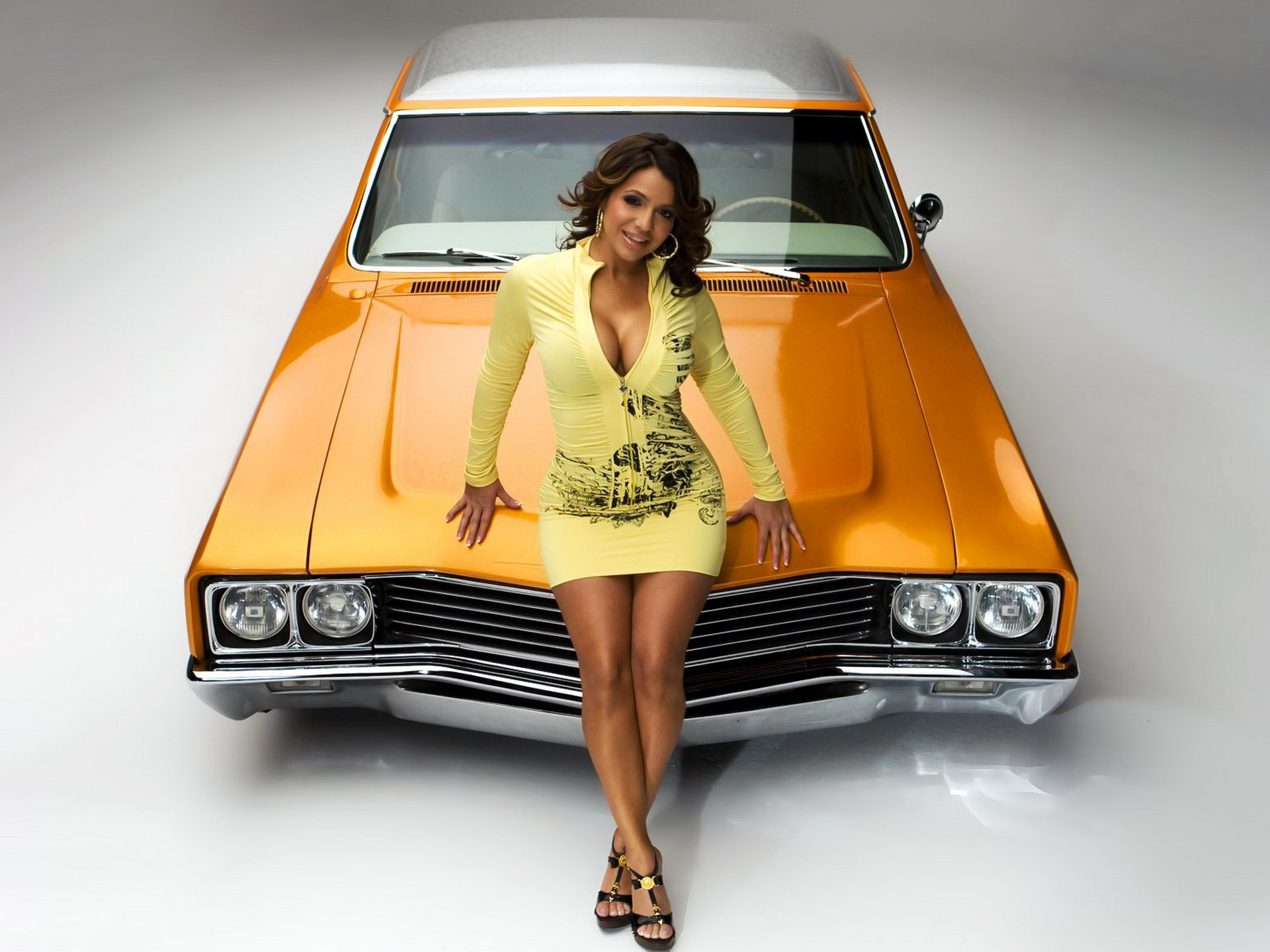 Girl and yellow car wallpapers girl and yellow car stock - Muscle car girl wallpaper ...