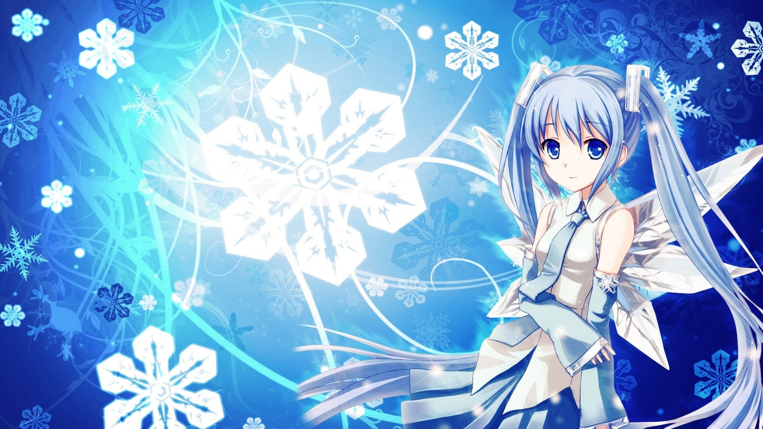 2560x1440 Girl Blue Hair & Snow Flakes YouTube Channel Cover