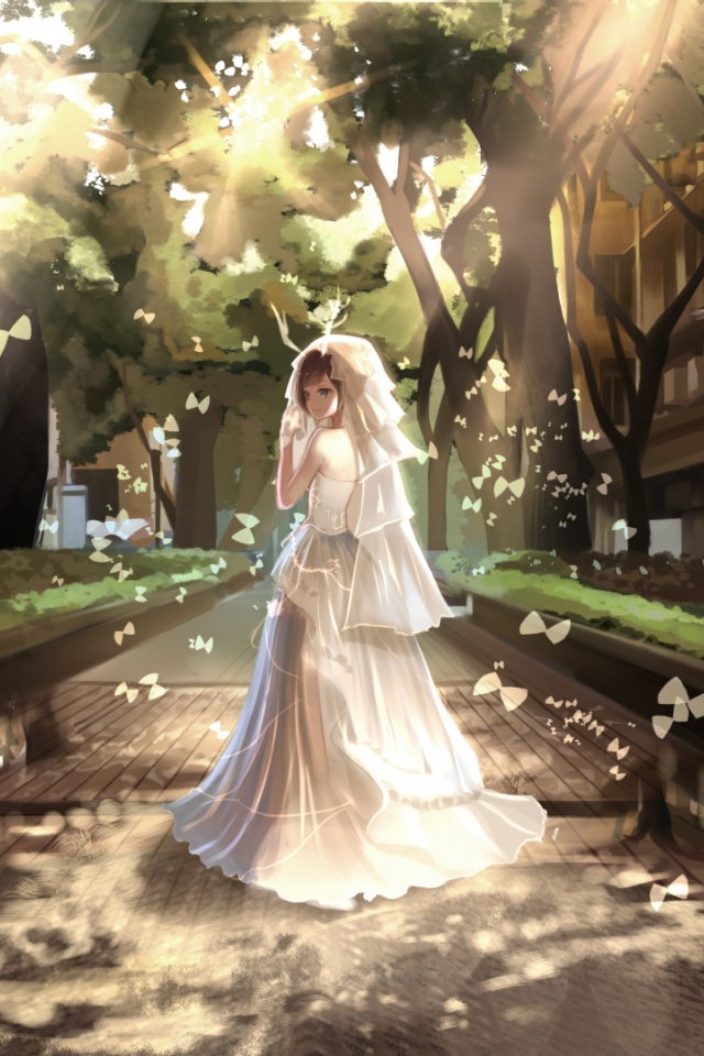 640x960 Girl Bride Road Houses Trees Iphone 4 Wallpaper