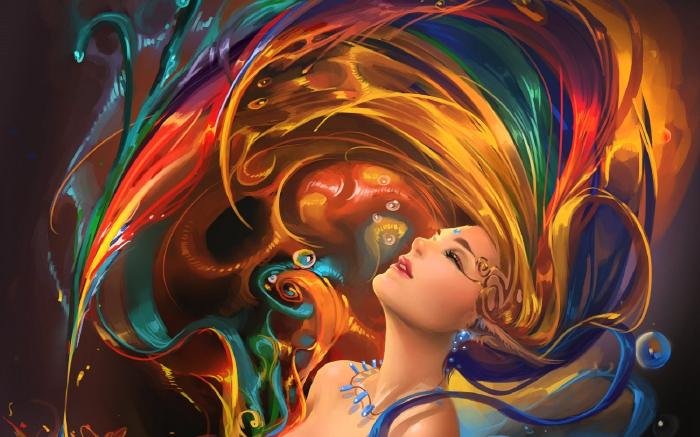 1440x900 girl colorful hair psychedelic desktop pc and mac