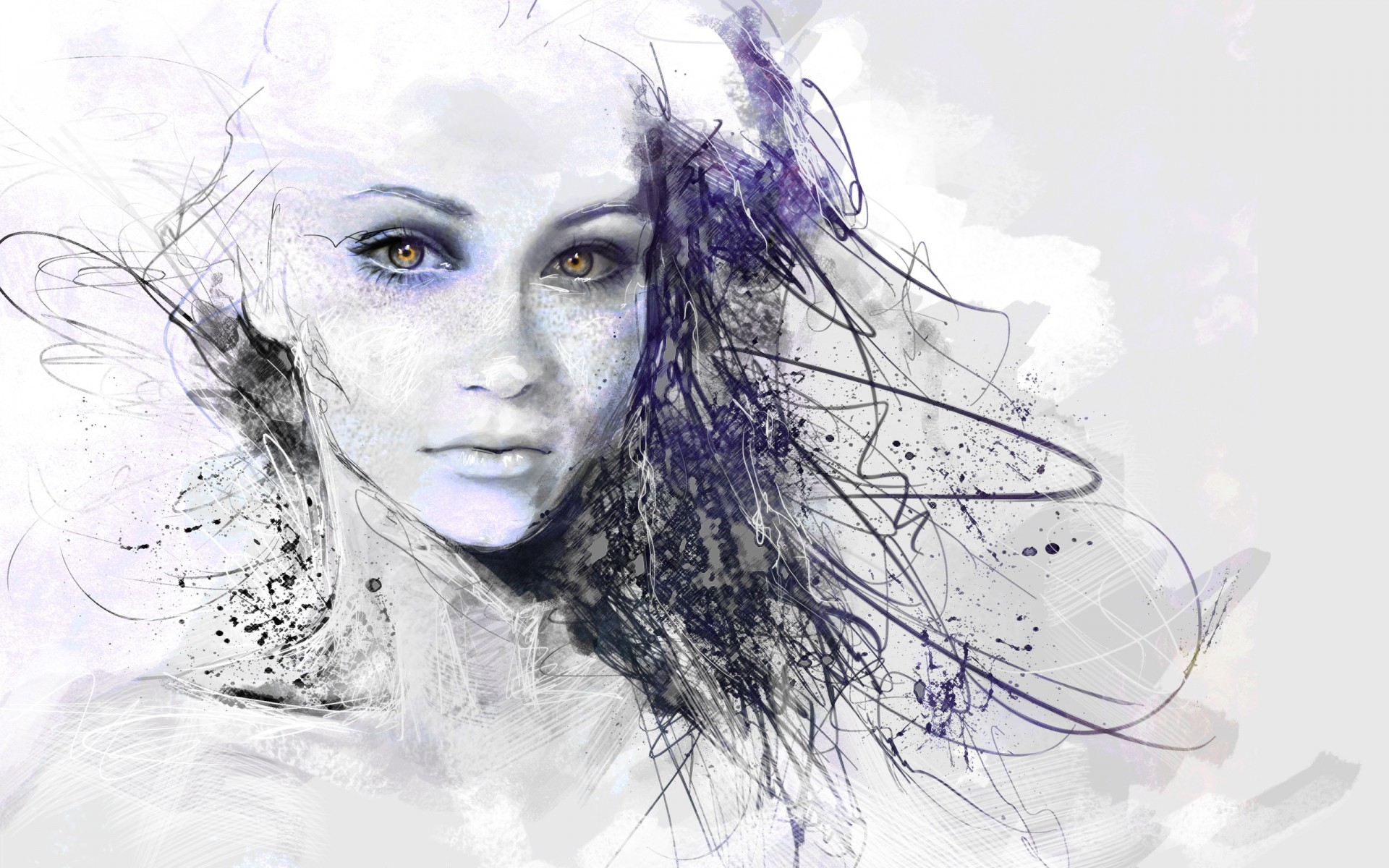Girl face drawing abstract wallpapers girl face drawing - Sketch anime wallpaper ...