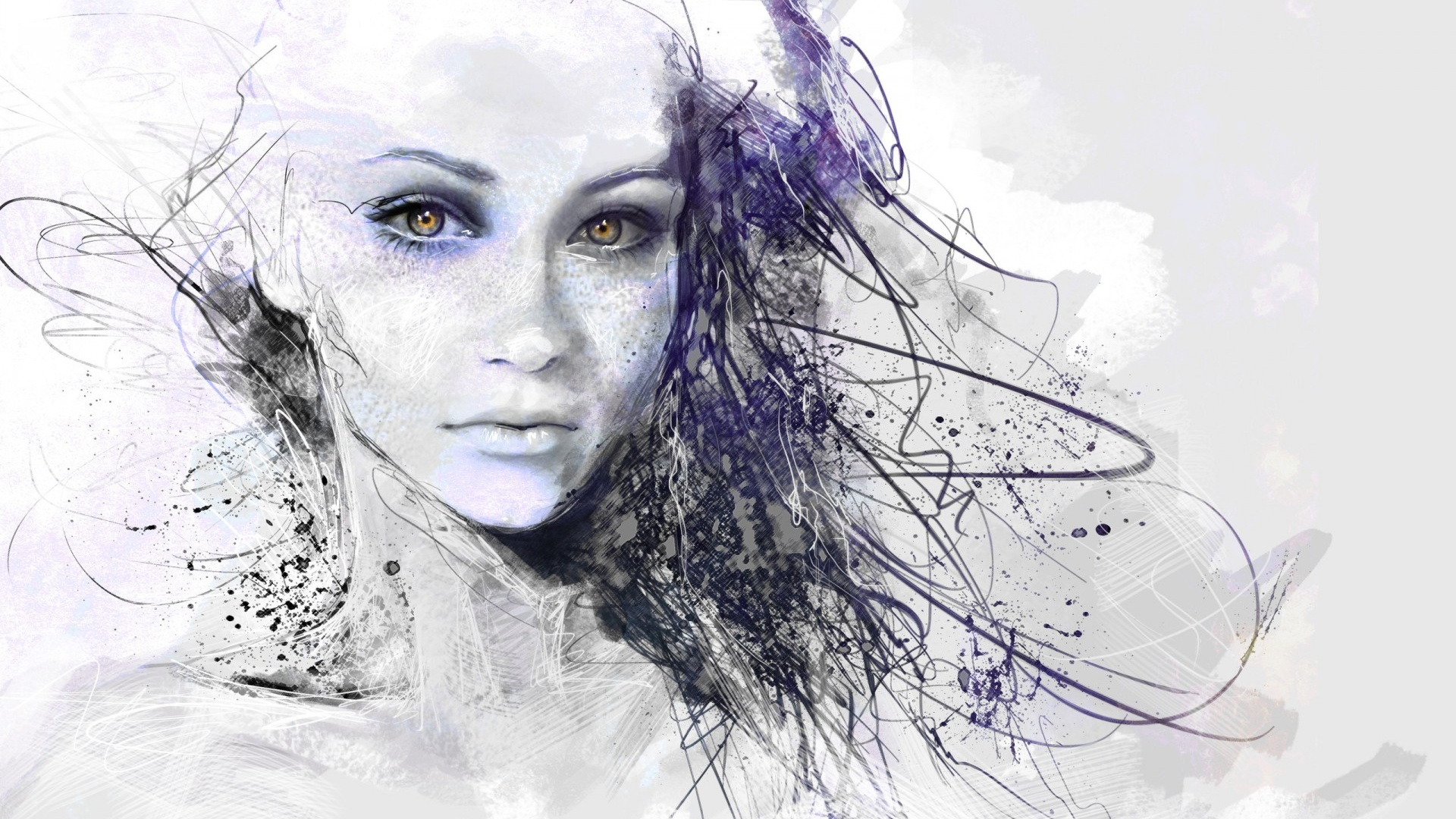 1920x1080 Girl Face Drawing Abstract Desktop Pc And Mac