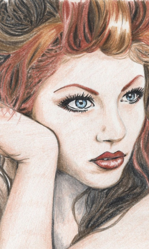 480x800 Girl Face Hair Make Up Drawing Galaxy s2 wallpaper