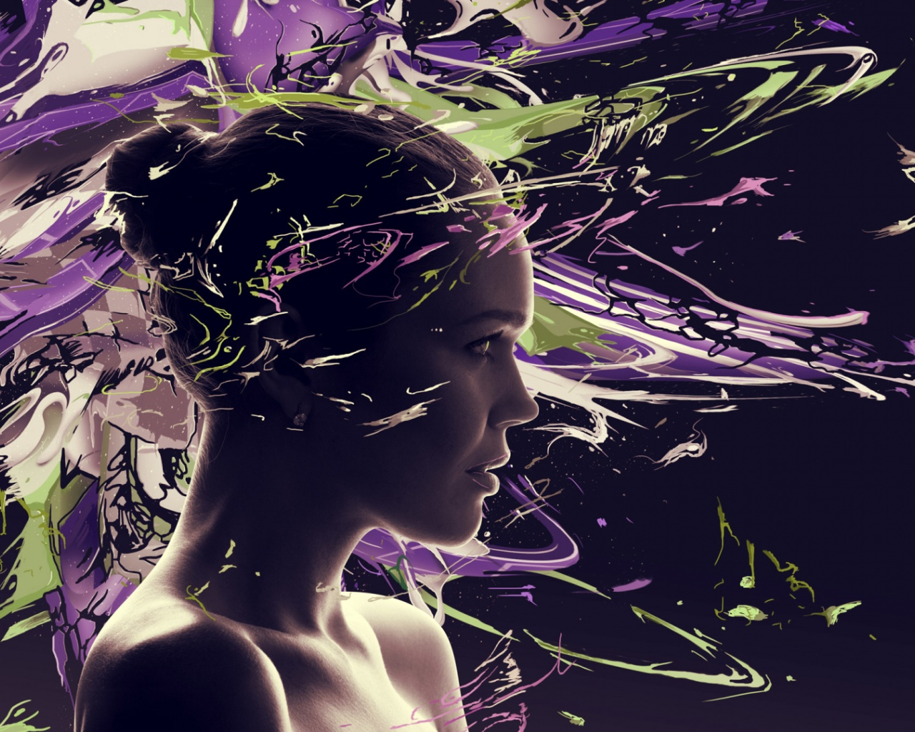 1280x1024 girl face psychedelic desktop pc and mac wallpaper