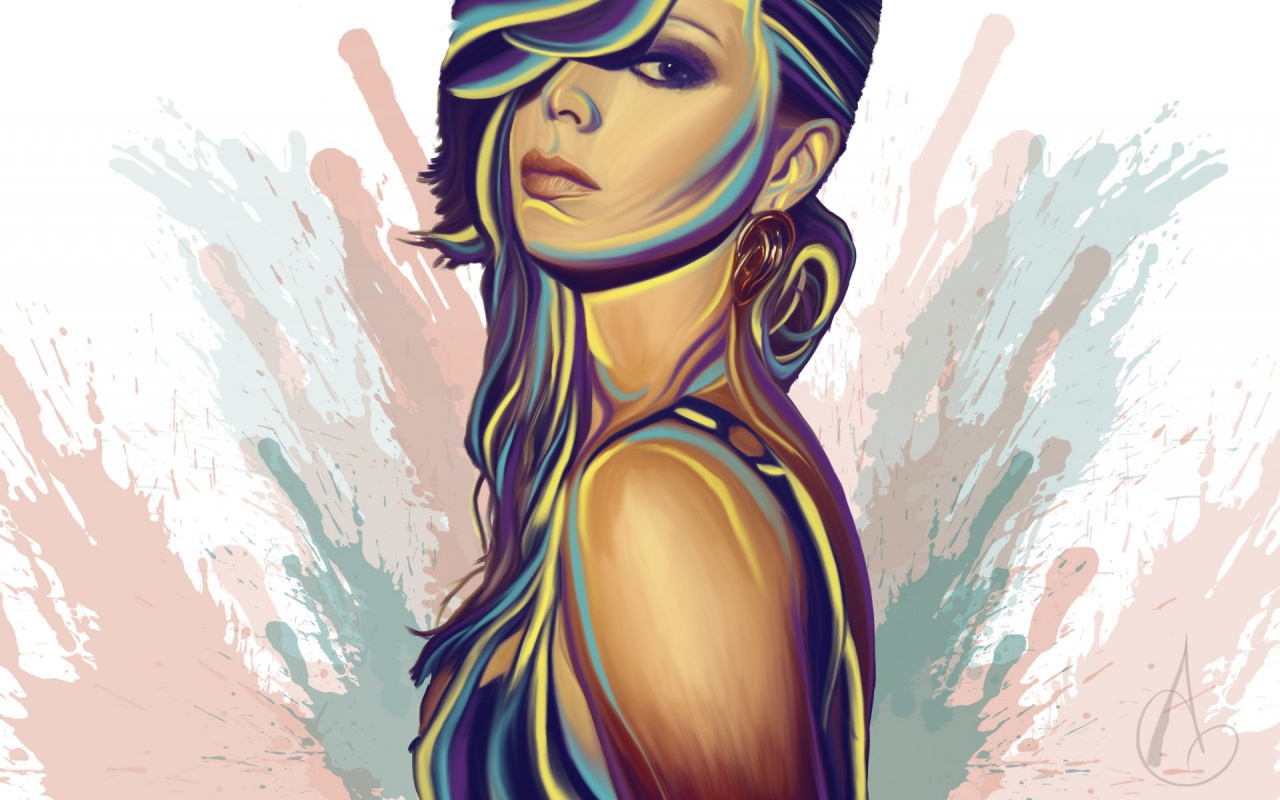 1280x800 Girl Mood Glance Vector Art