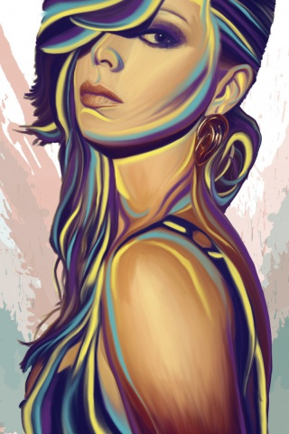 320x480 Girl Mood Glance Vector Art