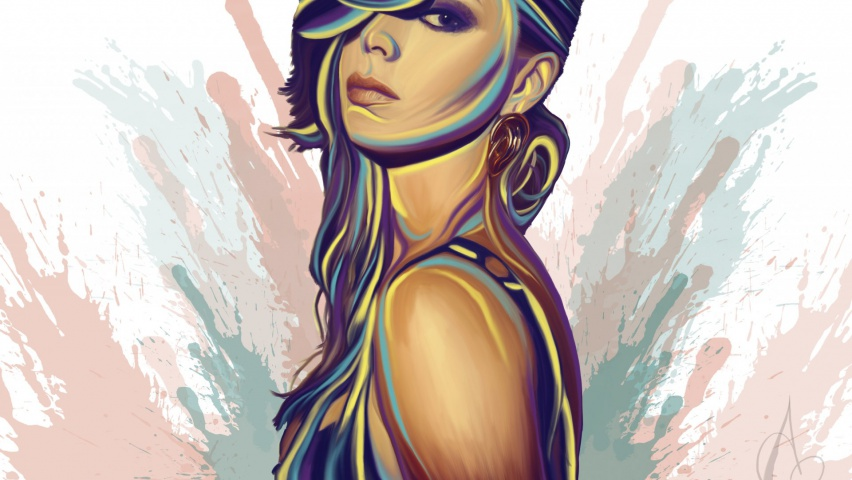 852x480 Girl Mood Glance Vector Art